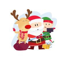 Reindeer, Santa Claus And Elf ...