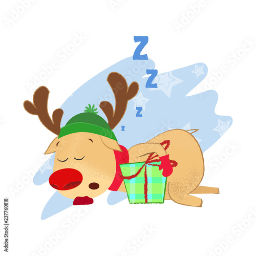 Foto  Reindeer sleeping with Christmas present