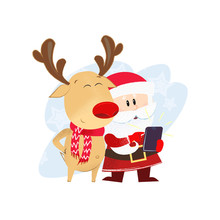 Santa Claus And Reindeer Taking Selfie. Smartphone, Character, Cartoon. Can Be Used For Topics Like Christmas, North Pole, Communication