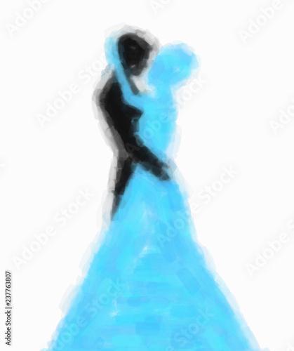 fototapeta na lodówkę Aquarelle. Les amoureux en train de s'embrasser