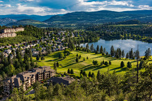 Elevated View Of A Golf Course And Residential Subdivision At Shannon Lake In The Okanagan Valley West Kelowna British Columbia Canada