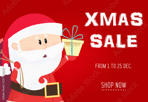 Xmas sale red coupon design with Santa  Inscription with