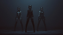 3 Sexy Biker Demon Woman In Leather Boots And Crash Helmets In A Foggy Void 3d Illustration 3d Render