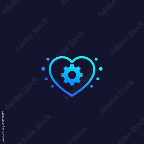 Fotografía  biotechnology vector logo with heart and cogwheel
