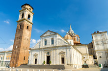 Duomo Di Torino San Giovanni Battista Catholic Cathedral Where The Holy Shroud Of Turin Is Rested With Bell Tower And Sacra Sindone Chapel On Square In Historical Centre Of Turin City, Piedmont, Italy