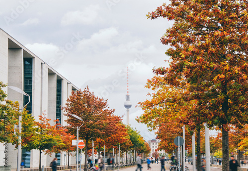 Photo  Berlin Tv Tower and foliage trees in Berlin, Germany