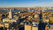 Aerial View Over Camden New Jersey Downtown Philadelphia Visable
