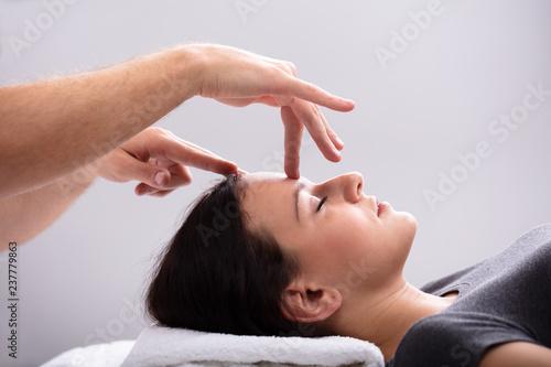 Woman Receiving Reiki Treatment Canvas Print