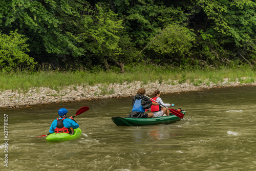 Kayak boats on Dunajec river in Pieniny national park