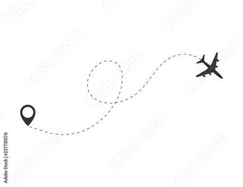 Airplane travel concept. Plane with destinations points and dash route line.