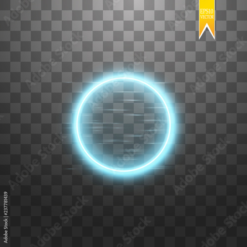 Blue round frame. Shining circle banner. Isolated on black transparent background. Vector illustration Fototapete