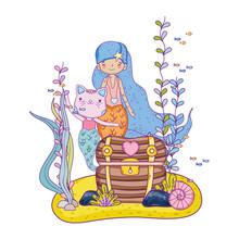 Cute Purrmaid And Mermaid With Treasure Chest