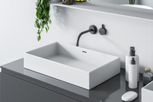 Top View Of Bathroom Sink, Gray Counter