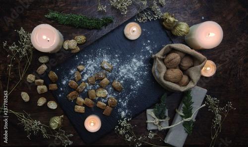 Autocollant pour porte Spa Yule food table baked goods