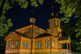 Orthodox church by night. Juszkowy Grod. Podlachia. Poland. Wooden Orthodox church in Poland.