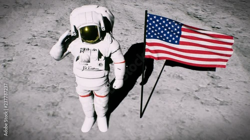 Cuadros en Lienzo  Astronaut on the moon near the us flag salutes