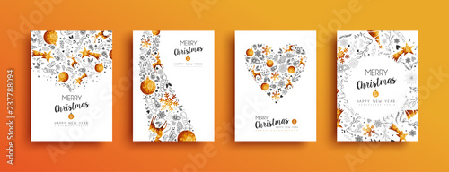 Fotografie, Obraz  Christmas and New Year gold greeting card set
