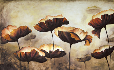 Frame of poppies hand painted on white canvas.