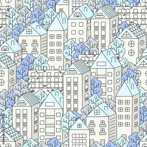zimowy-krajobraz-miasta-padaja-domy-drzewa-snieg-recznie-rysowane-wzor-ilustracji-wektorowych