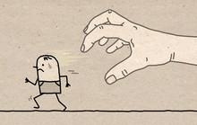 Big Hand With Cartoon Characte...