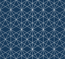 Silver Lines Pattern. Vector Geometric Seamless Texture With Delicate Grid, Lattice, Net, Thin Diagonal Lines, Hexagons, Rhombuses, Triangles. Abstract Graphic Background In Deep Blue And Gray Color