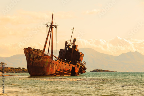 Photo Stands Ship The famous shipwreck near Gythio Greece