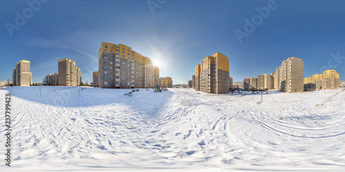 Spoed Foto op Canvas Stad gebouw full seamless spherical panorama 360 degrees angle view in high-rise building area urban development residential quarter in winter sunny day. 360 panorama in equirectangular projection. vr ar content