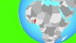Closing in on Benin on simple globe. 3D illustration.
