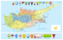 Cyprus Political Map With Road...