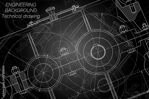 Fototapety, obrazy: Mechanical engineering drawings on black background. Reducer. Technical Design. Cover. Blueprint. Vector illustration.
