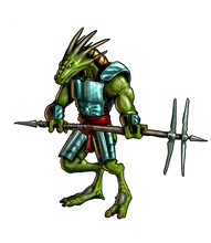Concept Art Digital Fantasy Painting Or Illustration Of Lizard Warrior With Battle Axe And Armor.