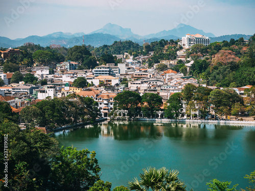 Foto op Aluminium Cyprus view of the city of Kandy and the lake from the height of the mountain