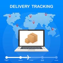 Parcel Tracking Website On Laptop Screen. Online Package Tracking. Modern Concept. Vector Illustration.