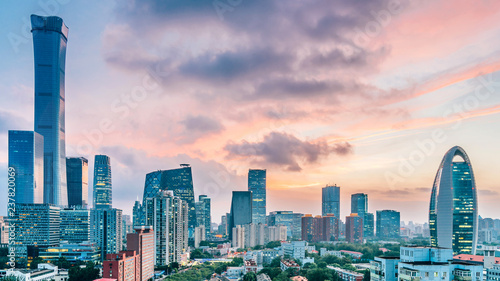 Fotobehang Peking Urban Dusk Landscape of CBD Central Business District, Beijing, China