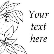 Vector Card Design With Hand Drawn Outlined Mandarin And Leaves. Contour Sketch With Space For Text Isolated On White Background. Can Be Used For Cards, Invitations, Print, Menu.
