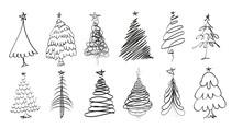 Hand Drawn Christmas Tree. Set...