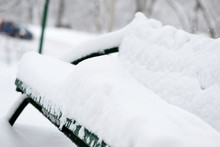 Bench Covered With Snow In The...