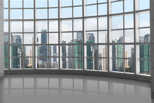 High Rise Luxury Design Concept, Window Grid Square Pattern With Skyline Background