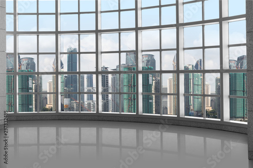 High rise luxury design concept, window grid square pattern with skyline backgro Canvas Print