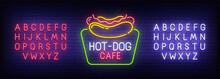 Hot Dog Neon Sign, Bright Signboard, Light Banner. Fast Food Logo. Neon Sign Creator. Neon Text Edit. Design Template. Vector Illustration