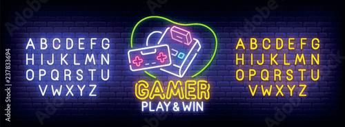 Fotografía  Gamer neon sign, bright signboard, light banner