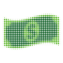 Waving Dollar Banknote Halftone Dotted Icon. Halftone Array Contains Circle Pixels. Vector Illustration Of Waving Dollar Banknote Icon On A White Background.