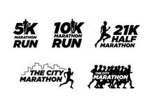 Set Of Black Silhouette Marathon Run Event Logo Template With Running People Illustration, 5K, 10K, 21K Half Marathon Vector Eps 10