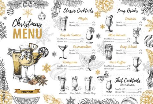 Plakaty do baru - pubu hand-drawing-christmas-holiday-menu-design-restaurant-menu