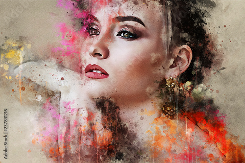 Art colorful sketched beautiful abstract girl face portrait on colored background in Digital watercolour mixed media style word fashion style model