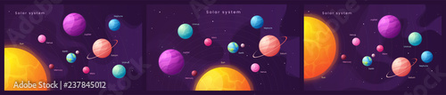 Foto The Solar system. Set of colorful cartoon infographic background