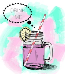 Panel Szklany Do kawiarni Hand drawn smoothie mason jar on watercolor background. Drink me message.
