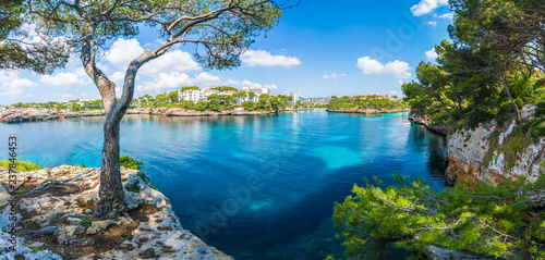 Obraz Landscape with Cala D'or bay and village, Palma Mallorca Island, Spain - fototapety do salonu