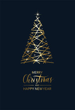 Merry Christmas And Happy New Year - Hand Lettering Vector Card. Calligraphy Gold Holiday  Inscription With Gold Christmas Tree.
