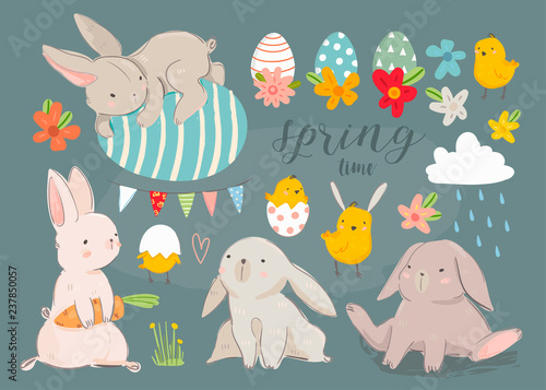 Happy Easter! Various eggs, bunnies and chicks. Hand drawn colored vector set. Dark background. All elements are isolated